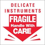 Tape Logic Delicate Instruments - Fragile Shipping Label, 3 x 3, 500/Roll