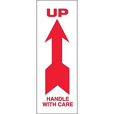 Tape Logic Up - Handle With Care Shipping Label, 2 1/2in. x 7in., 500/Roll