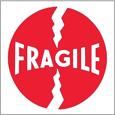 Tape Logic Fragile (Round) Tape Logic Shipping Label, 4in. x 4in., 500/Roll