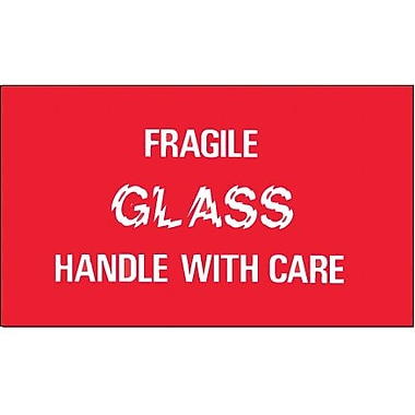 Tape Logic Fragile - Glass - Handle With Care Shipping Label, 3in. x 5in., 500/Roll