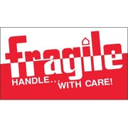 "Tape Logic® Labels, ""Fragile - Handle With Care"", 3"" x 5"", Red/White, 500/Roll"
