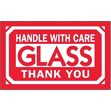 Tape Logic Glass - Handle With Care Thank You Shipping Label, 3in. x 5in., 500/Roll