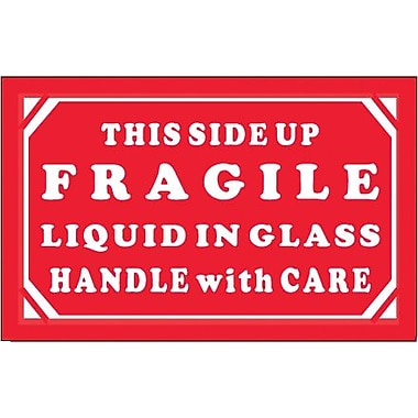 Tape Logic Fragile - Liquid in Glass - HWC Shipping Label, 3in. x 5in.