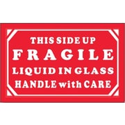 Tape Logic Fragile - Liquid in Glass - HWC Shipping Label, 3 x 5, 500/Roll