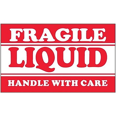 Tape Logic Fragile - Liquid - Handle With Care Shipping Label, 3in. x 5in., 500/Roll