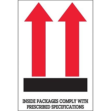 Tape Logic Inside Packages Comply... (Two Red Arrow Over Black Bar) Shipping Label, 4in. x 6in., 500/Roll