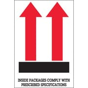 "Tape Logic® Labels, ""Inside Packages Comply "", Arrow, 4"" x 6"", Red/White/Black, 500/Roll (DL1480)"