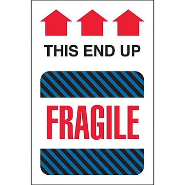 Tape Logic This End Up - Fragile Shipping Label, 4in. x 6in., 500/Roll