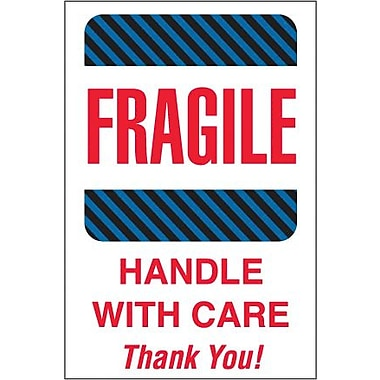 Tape Logic Fragile - Handle With Care Thank You! Shipping Label, 4in. x 6in.
