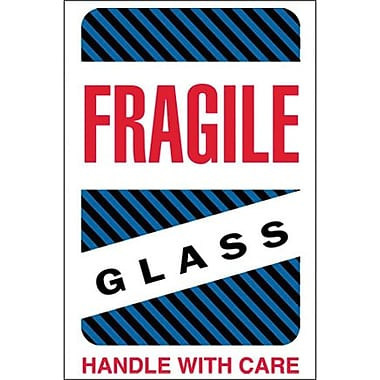 Tape Logic Fragile - Glass - Handle With Care Shipping Label, 4in. x 6in., 500/Roll