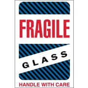 "Tape Logic® Labels, ""Fragile - Glass - Handle With Care"", 4"" x 6"", Multiple, 500/Roll"