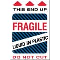Tape Logic Fragile - Liquid in Plastic Shipping Label, 4in. x 6in.