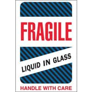 "Tape Logic® Labels, ""Fragile - Liquid in Glass"", 4"" x 6"", Multiple, 500/Roll"