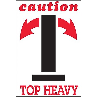 Tape Logic Caution - Top Heavy Shipping Label, 4in. x 6in., 500/Roll