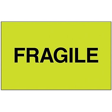 Tape Logic Fragile (Fluorescent Green) Shipping Label, 3in. x 5in.
