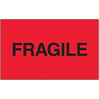 Tape Logic Fragile (Fluorescent Red) Shipping Label, 3in. x 5in.