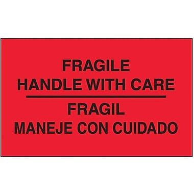 Tape Logic Fragile - Handle With Care Shipping Label Bilingual, 3in. x 5in., 500/Roll
