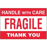 "Tape Logic® Labels, ""Fragile - Handle With Care"", 4"" x 6"", Red/White, 500/Roll"