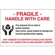"Tape Logic® Labels, ""Fragile - Handle With Care"", 4"" x 6"", Red/White/Black, 500/Roll"