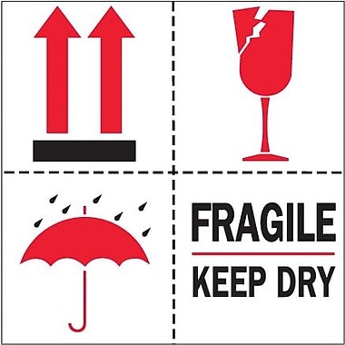 Tape Logic Fragile - Keep Dry Tape Logic Shipping Label, 4in. x 4in., 500/Roll