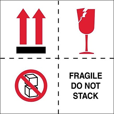 Tape Logic Fragile - Do Not Stack Tape Logic Shipping Label, 4in. x 4in.