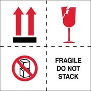 Tape Logic Fragile - Do Not Stack Tape Logic Shipping Label, 4 x 4, 500/Roll