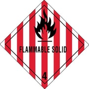 "Tape Logic Flammable Solid - 4"" Tape Logic Shipping Label, 4"" x 4"", 500/Roll"