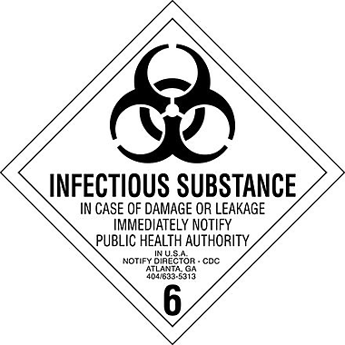 Tape Logic Infectious Substance - 6in. Tape Logic Shipping Label, 4in. x 4in.
