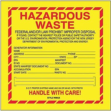 Tape Logic Hazardous Waste - New Jersey Shipping Label, 6in. x 6in., 500/Roll