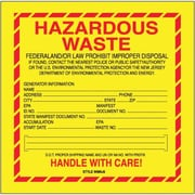 "Tape Logic Hazardous Waste - New Jersey Shipping Label, 6"" x 6"", 500/Roll"