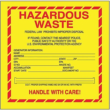 Tape Logic Hazardous Waste - Standard Shipping Label, 6in. x 6in.