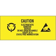 "Tape Logic® Labels, ""Electrostatic Sensitive Devices"", 1"" x 2 1/2"", Black/Yellow, 500/Roll"