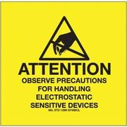 Tape Logic Attention - Observe Precautions Tape Logic (MIL STD 129N Symbol) Shipping Label, 4 x 4, 500/Roll