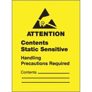 "Tape Logic® Labels, ""Contents Static Sensitive"", 1 3/4 x 2 1/2"", Black/Yellow, 500/Roll"