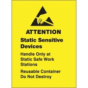 "Tape Logic Static Sensitive Devices (Yellow) Shipping Label, 1 3/4"" x 2 1/2"", 500/Roll"