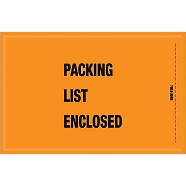 Staples Packing List Envelope, 5 1/4in. x 8in. - Mil-Spec Orange Full Face in.Packing List Enclosedin., 1000/Case