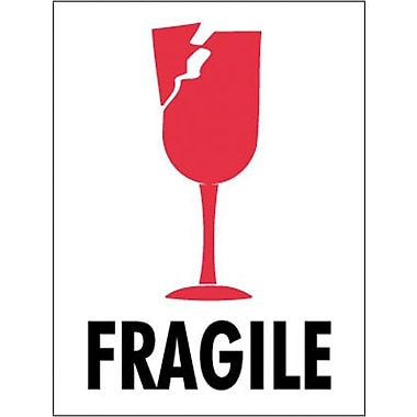 Tape Logic Fragile (Glass) Shipping Label, 3in. x 4in., 500/Roll