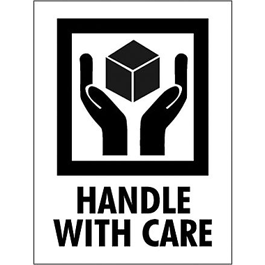 Tape Logic Handle With Care Shipping Label, 3in. x 4in.
