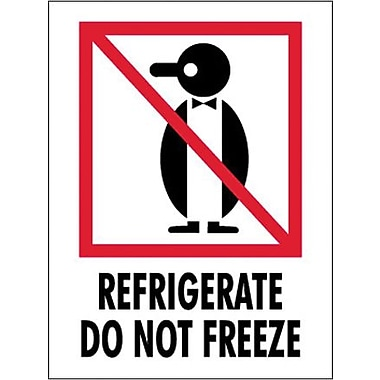 Tape Logic Refrigerate - Do Not Freeze Shipping Label, 3in. x 4in.