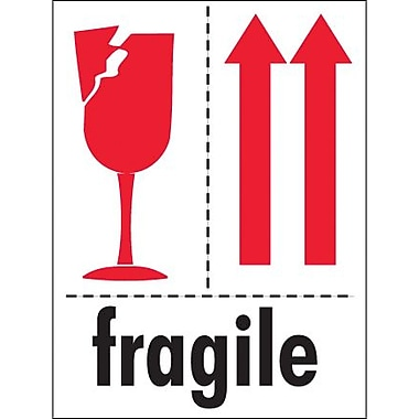 Tape Logic Fragile (Glass And Arrows) Shipping Label, 3in. x 4in., 500/Roll