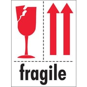 Tape Logic Fragile (Glass And Arrows) Shipping Label, 3 x 4, 500/Roll