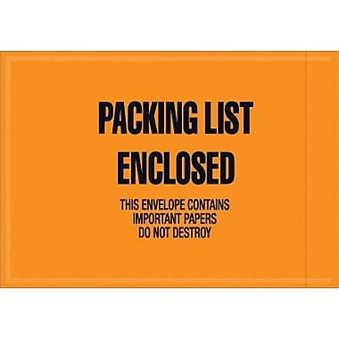 Staples Packing List Envelope, 4 1/2in. x 6in. - Mil-Spec Orange Full Face in.Packing List Enclosedin., 1000/Case