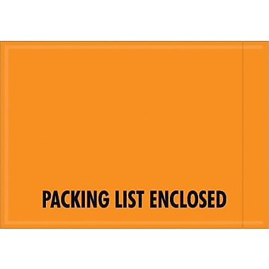 Staples Orange Packing List Envelope, 4 1/2in. x 6in. - Mil-Spec Orange Full Face in.Packing List Enclosed, 1000/Case