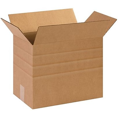 14 1/2in.(L) x 8 3/4in.(W) x 12in.(H) - Staples Multi-Depth Corrugated Shipping Box, 25/Bundle