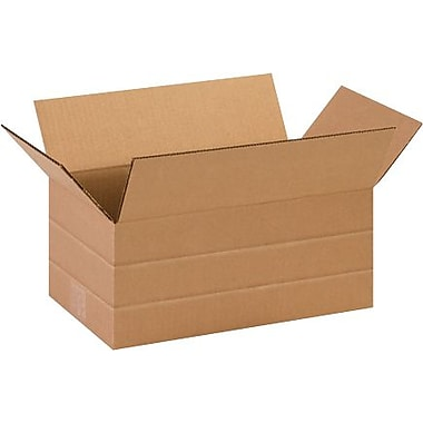 14 1/2in.(L) x 8 3/4in.(W) x 6in.(H) - Staples Multi-Depth Corrugated Shipping Box