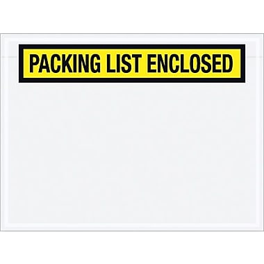 Staples Packing List Envelope, 4 1/2in. x 6in. - Yellow Panel Face, in.Packing List Enclosedin., 1000/Case