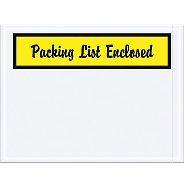 Staples Packing List Envelope-Script, 4 1/2in. x 6in. - Yellow Panel Face, in.Packing List Enclosedin., 1000/Case