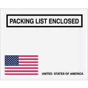 "Staples Packing List Envelope, 4 1/2"" x 5 1/2"" - U.S.A. Flag Panel Face, ""Packing List Enclosed"", 1000/Case"
