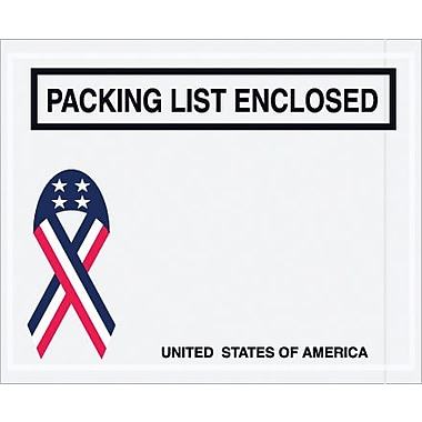 Staples Packing List Envelope, 4 1/2in. x 5 1/2in. - U.S.A. Ribbon Panel Face, in.Packing List Enclosedin., 1000/Case