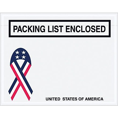 Staples Packing List Envelope, 7in. x 5 1/2in. - U.S.A. Ribbon Panel Face, in.Packing List Enclosedin.